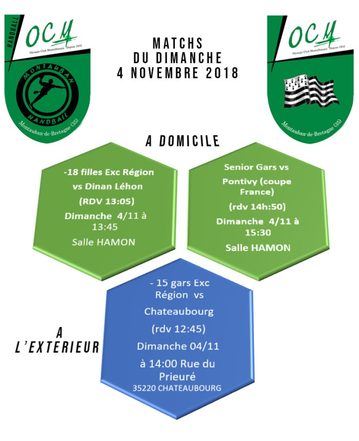 Matchs dimanche 4 novembre 2018