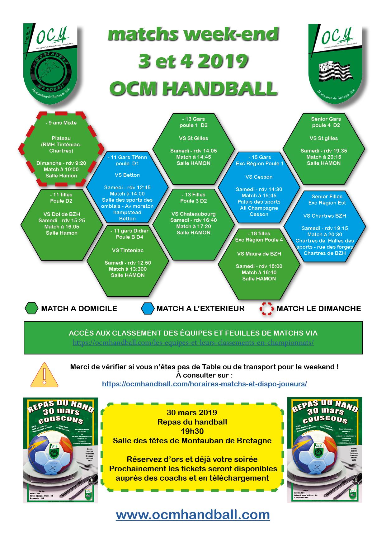 planing et info matchs samedi 3  et dimanche 4 mars 2019
